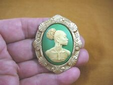 (CA20-22) RARE African American LADY ivory + green CAMEO Pin Pendant JEWELRY