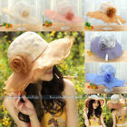 New Church Kentucky Derby Wedding Party Organza Wide Brim Beach Sun Hat Foldable