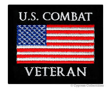 US COMBAT VETERAN PATCH embroidered iron-on MILITARY VET IRAQ AFGHANISTAN EMBLEM