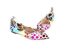 Ferragamo Claire Flats Shoes Skimmers Polka Dot New in Box $750