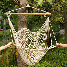 DELUXE air swing Hammock porch Chair Hanging Indoor Outdoor Cotton Rope Wood