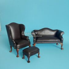 1:12 Dollhouse Miniature Furniture Model Chocolate Leather Couch/Sofa Set Chair
