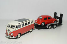 MAISTO VW VOLKSWAGEN TRANSPORTER T1 WITH BEETLE ON TRAILER EXCELLENT CONDITION