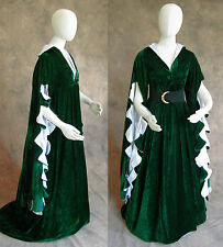 Green Scalloped Renaissance Medieval Dress SCA Ren Faire Game of Thrones LOTR S