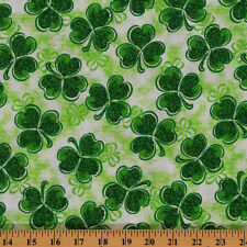 St. Patrick's Stippled Clover Shamrock Green Cotton Fabric Print by Yard D561.14