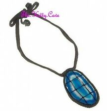 Semi Precious Sliced Brazilian Blue Agate Druzy Crochet Macramé Feature Necklace