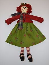 "26"" Primitive Handmade? Raggedy Ann Style Christmas Cloth Doll Adorable"