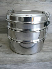 Three Tier Metal Tiffin Lunch Storage Containers Bento Stacking Storage Spices