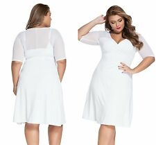 Womens Ladies Sexy White & Spice Sheer Evening Party Pencil Dress Plus Size 18