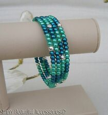 Deep Teal & Turquoise Glass Pearl Beads Memory Wire Bracelet Cuff Handcrafted