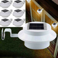 6Pcs 3LED SOLAR POWERED GUTTER FENCE DOOR WALL LIGHTS OUTDOOR GARDEN LIGHTS