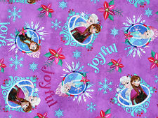 FAT QUARTER DISNEY FROZEN SISTERS MERRY & JOYFUL 100% COTTON FABRIC ANNA ELSA FQ