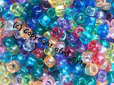 500 or 1000 PONY BEADS in MIXED Colours & Finishes 9x6mm Barrel Shape