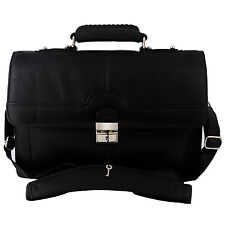 Genuine Leather Men's Messenger Portfolio Shoulder Bag Lawyer's Briefcase Black