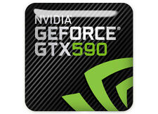 "nVidia GeForce GTX 590 1""x1"" Chrome Domed Case Badge / Sticker Logo"