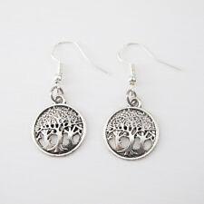 Lega di argento Albero della Vita africana scollegati tribali orecchini 925 Sterling Ganci Nuovo