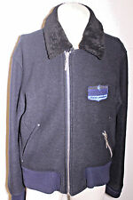 Versace Jeans Navy Blue Flight Bomber Jacket Coat w Detachable Collar Size XL