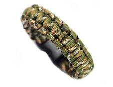 Paracord Survival tactical Bracelet Cord Buckle With Whistle New Green Camo
