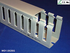"18 New 1""x1.5""x2m Wide Finger Open Slot Wiring Cable Raceway Duct Cover,PVC,Gray"