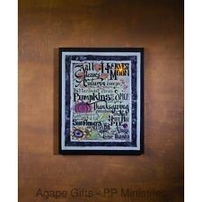 OWI Fall Decor - Radiance Lighted Canvas Autumn Breezes Words #38928