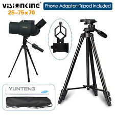 Angled Spotting Scope with 25-75X70 Zoom Eyepiece+Free Adaptor+Tripod Waterproof