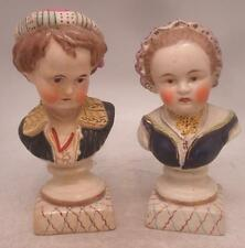 Staffordshire Pottery Figures - Pair of Chelsea Busts - Boy & Girl