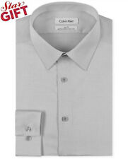 $99 CALVIN KLEIN Men GRAY SLIM-FIT NON-IRON LONG SLEEVE DRESS SHIRT 15 34/35