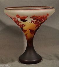 "GALLE VIVID COLORS ETCHED CAMEO VASE 11.5"" H 12.5"" DIAM GUARANTEED AUTHENTIC"