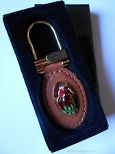 Horse Racing Genuine Leather Oval Fob Key Ring Boxed Jockey UK Branded Product