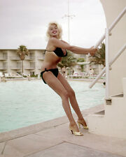 Jayne Mansfield posing by swimming pool in black bikini 8X10 Photo