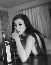 60s Nude Busty Pinup leaning over bar mouth on wine glass 8 x 10 Photograph