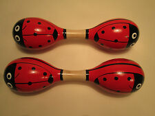 Pair of double wooden ladybird maracas - great for a home or school music box