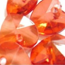 30 pieces 10mm Acrylic Heart Charm Beads - Red - A5104