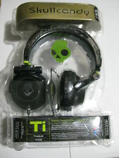 Skullcandy Ti Titanium Black Green Headband Headphones Over DJ S6TIBZ-BG