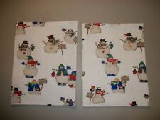 Pair handmade fabric wall quilts/hangings--off-white with snowmen, gold glitter!