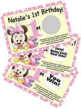 BABY MINNIE MOUSE SCRATCH OFF OFFS PARTY GAME GAMES CARDS 1st BIRTHDAY FAVORS