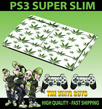 PLAYSTATION PS3 SUPER SLIM  CANNABIS LEAF WHITE WEED SKIN STICKER & 2 PAD SKIN