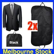 2 x BLACK SUIT COVER BAGS Jacket Garment Storage Coat Protector Clothes Covers