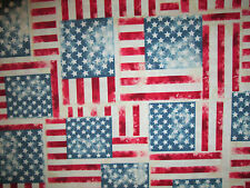 DENIM FLAG USA STARS STRIPES COTTON FABRIC FQ
