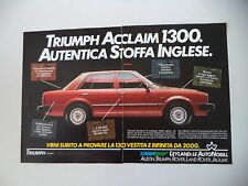 advertising Pubblicità 1983 TRIUMPH ACCLAIM 1300