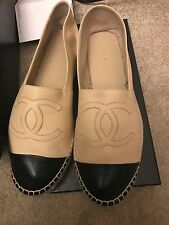 Chanel leather Espadrilles Beige Black Sz 39