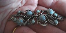 SILVER TONE, FAUX TURQUOISE CABOCHON LINEAR BROOCH (AG12)
