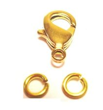 12 MM BRASS Lobster Clasp Pkg.of 10 + 20 / 5 MM Jump Rings (Natural Solid Brass)