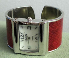 CHICO'S RED WRISTWATCH~BEAUTIFUL CUFF BRACELET~STAINLESS STEEL, LIGHTLY WORN