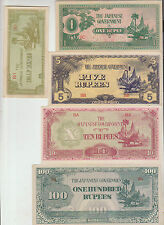 1942 Set 5 pcs Japanese Occ. Burma 0.5,1,5,10 & 100 Rupees ~ Condition : XF+++