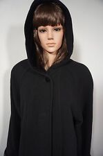 Halston Coat 8P Vintage Long Black Wool Hooded Button Front Lined Russian Made