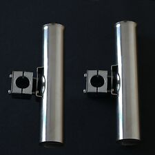 2x Stainless Steel Rod Holder Adjustable Clamp On Big Game Fishing Boat Parts