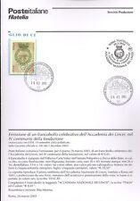 ITALIA 2003 ACCADEMIA LINCEI   BOLLETTINO COMPLETO DI FRANCOBOLLI ANNULLO FDC