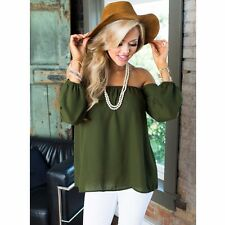 Sexy Women Strapless Off Shoulder Top Chiffon Loose Tops Shirt Blouse Tee LOT N1