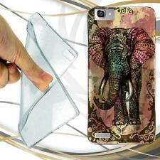 CUSTODIA COVER CASE TPU ELEPHANT TRIBAL elefante arte PER HUAWEI P8 LITE SMART